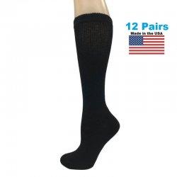 Men's Black Diabetic Knee Socks - 12 Pairs