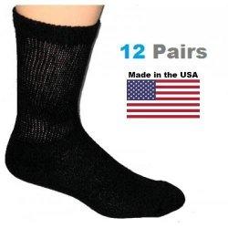 Kids Black Diabetic Crew Socks - 12 Pairs