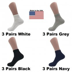 Men's Assorted Diabetic Ankle Socks - White, Black, Navy, Grey 12 Pairs