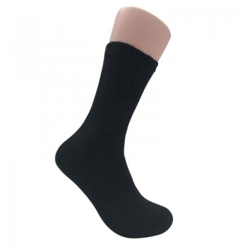 Men's Black Diabetic Crew Socks - 12 Pairs