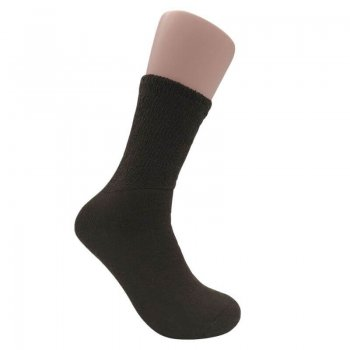 Men's Brown Diabetic Crew Socks - 12 Pairs