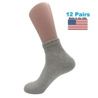 Men's Grey Diabetic Ankle Socks - 12 Pairs