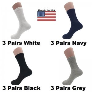 Men's Assorted Diabetic Crew Socks - Black, White, Navy, Grey 12 Pairs