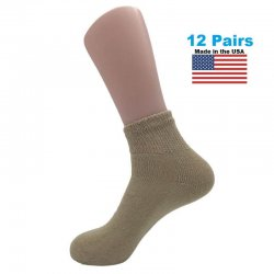 Men's Tan Diabetic Ankle Socks - 12 Pairs