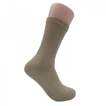 Men's Tan Diabetic Crew Socks - 12 Pairs