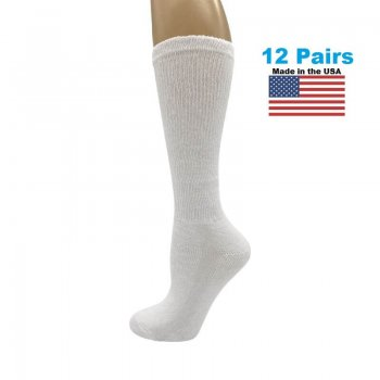 Men's White Diabetic Knee Socks - 12 Pairs