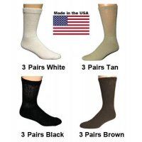 Women's Assorted Diabetic Crew Socks - Black, White, Brown, Tan - 12 Pairs