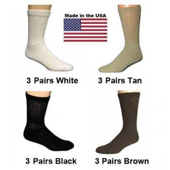 Women's Assorted Diabetic Crew Socks - Black, White, Brown, Tan - 12 Pairs