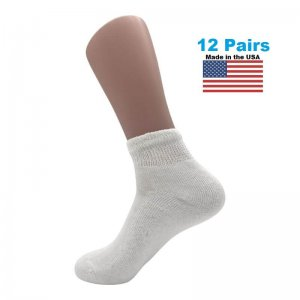 Men's White Diabetic Ankle Socks - 12 Pairs