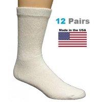 Kids White Diabetic Crew Socks - 12 Pairs