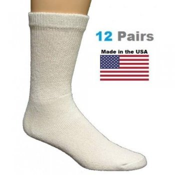 Kids White Diabetic Crew Socks - 12 Pairs