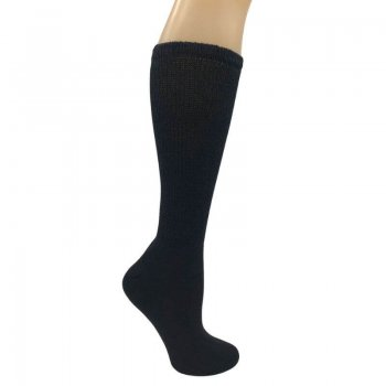 Women's Black Diabetic Knee Socks - 12 Pairs