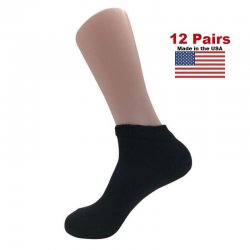 Women's Black Diabetic Low Cut Socks - 12 Pairs