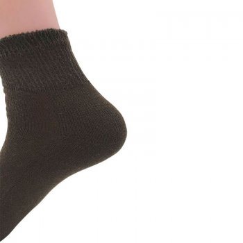 Women's Brown Diabetic Ankle Socks - 12 Pairs