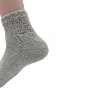 Women's Grey Diabetic Ankle Socks - 12 Pairs