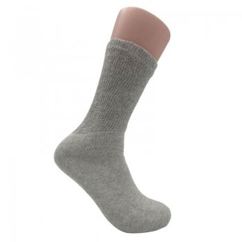 Women's Grey Diabetic Crew Socks - 12 Pairs