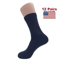 Women's Navy Diabetic Crew Socks - 12 Pairs