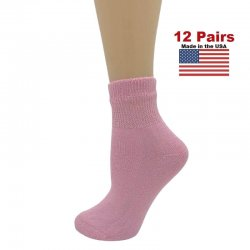 Women's Pink Diabetic Ankle Socks - 12 Pairs
