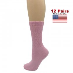 Women's Pink Diabetic Crew Socks - 12 Pairs