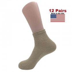 Women's Tan Diabetic Ankle Socks - 12 Pairs
