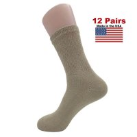 Women's Tan Diabetic Crew Socks - 12 Pairs