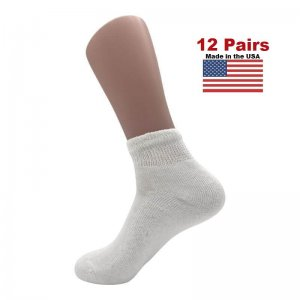 Women's White Diabetic Ankle Socks - 12 Pairs