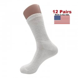 Women's White Diabetic Crew Socks - 12 Pairs