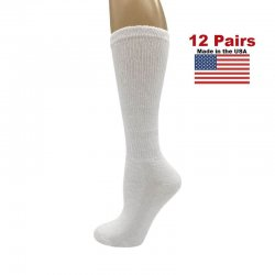 Women's White Diabetic Knee Socks - 12 Pairs