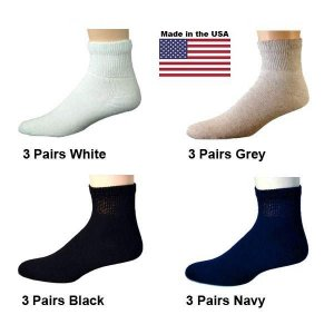 Women's Assorted Diabetic Ankle Socks - White, Black, Navy, Grey - 12 Pairs