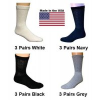 Women's Assorted Diabetic Crew Socks - Black, White, Navy, Grey - 12 Pairs
