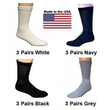 Women's Assorted Diabetic Crew Socks - Black, White, Navy, Grey - 12 Pairs